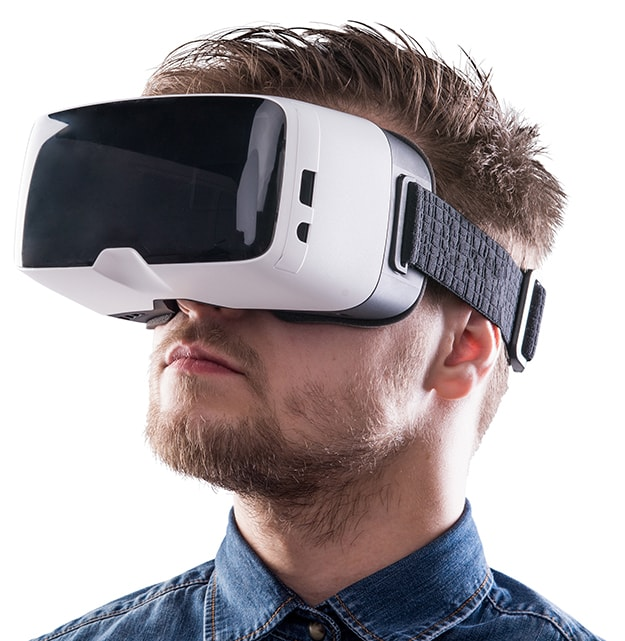 MAN WEARING VR HEADSET